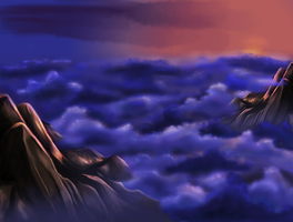 Cloudy mountains by Lapin-Volant