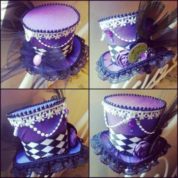 Purple and Lace Mini Top Hat by NoFlutter