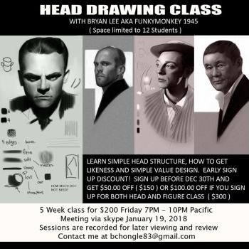 Head drawing class Flyer by FUNKYMONKEY1945