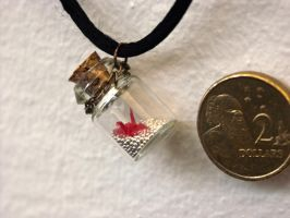Crane in a bottle - Necklace by ayukat