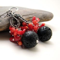 Coraline - red coral earrings with black lava bead by Astukee