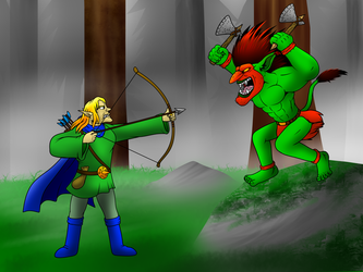 Elf vs Troll by Enricthepenguin92