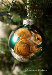 Christmas tree glass ball with squerrel by lovebiser