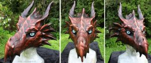 Red leather dragon mask - for sale by zarathus