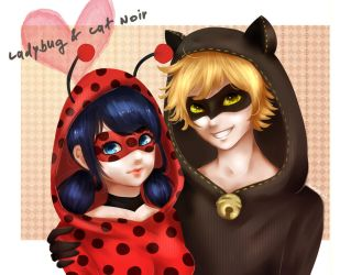 Ladybug and Cat Noir by kirakoii