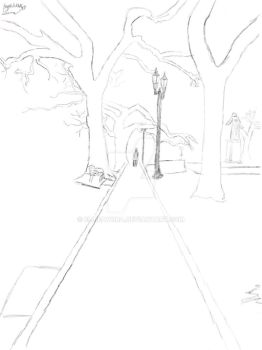 Lonely road uncolored sketch  by EllieAvora