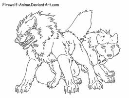 Wolf Protection Line Art by Firewolf-Anime