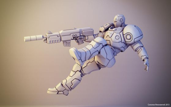 Sci-fi soldier figure #2 by keshon83