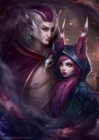 Xayah and Rakan - League of Legends by ChubyMi