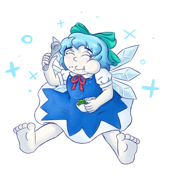 Cirno munching on shaved ice by InfernoWizard