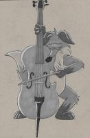 Inktober 28: A Little Music by RonRaccoon