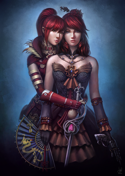 Guild Wars 2 Commission - Anna and Rua by jylgeartooth