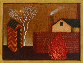 Landscape with factory and fire by DawidZdobylak