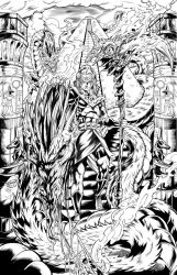 Anubis N' the Hydra inks by CdubbArt