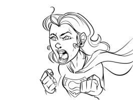 Inktober Day 4: Supergirl rage! by ffnb
