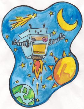 Robot in Space by kahlil-ARTist