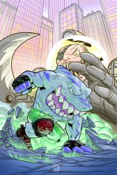 Street Sharks - Streex and dr.Piranha colored by COS1987