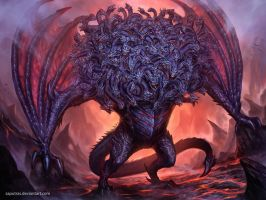 Ladon,The 100 Headed Dragon by saputras