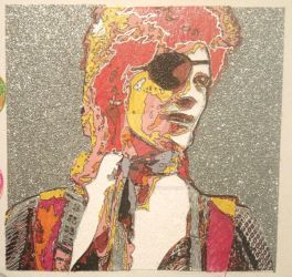 Bowie glitter paper collage i by Sculptbrown