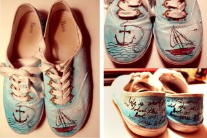Nautical-themed painted shoes by firestar21