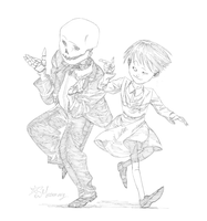 Sans and Frisk dance by Meammy