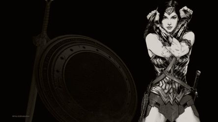 Wonder Woman In Black  White Wallpaper 2 by Curtdawg53