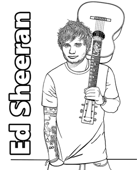 Coloring page with Ed Sheeran by Topcoloringpages