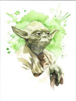 Star Wars Watercolor Print: Yoda by JAWart728