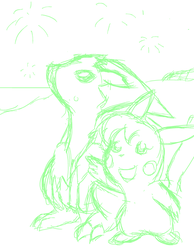Random Sketch 247: Vacation Fireworks by BigRinth