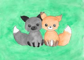 Cute Foxes by JuleeaSharice