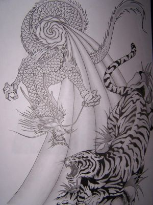 Tiger and Dragon tattoo by MikadosGirl