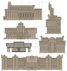Steampunk architecture sketches by Feivelyn