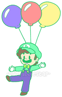 Balloon Luigi by BabyAbbieStar