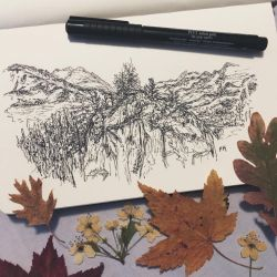 Mountainsides // pen sketch by MajesticPaula
