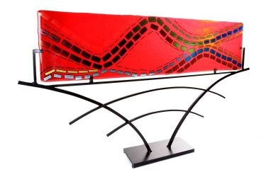Flow - Fused glass Asian style Panel by helenrudyglass