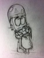 Robot and Courage Rough by kartoonfanatic