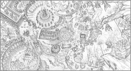 SKIRMISH Playmat Lineart Sample by Dreamkeepers