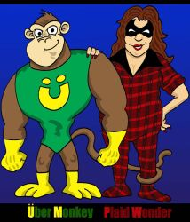 Uber Monkey and The Plaid Wonder by Lordwormm