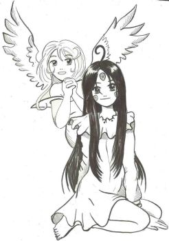 Skuld and Noble Scarlet by Koku-chan