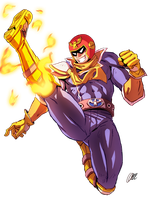 Captain Falcon - Falcon Kick [SPEEDPAINT] by oNichaN-xD