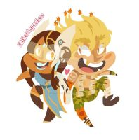 Symmetra and Junkrat - Shorties by EllieCupcakesArt
