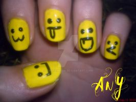 Smiley Nail Design by AnyRainbow