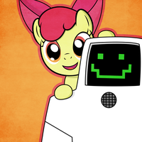 Applebloom And Jailbot by TheMatrixman