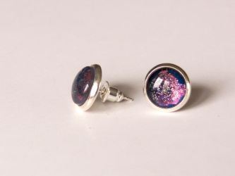 Stud earrings with hand painted glass, galaxy by OkeMani