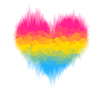 Pansexual / Panromantic Glitch Heart by Pride-Flags