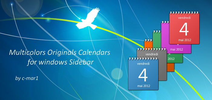 Colored Calendars for Windows Sidebar by c-mar1