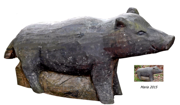 wood sculpture pig by MariaRaute2