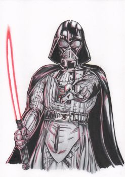 Darth Vader red lightsaber -Markers- by renatomirre