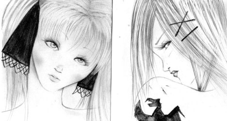 sketches: Marion and Kanna by NanakoHarrison