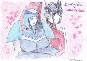 Diana Prime and Optimus Prime by DarkAudi1728